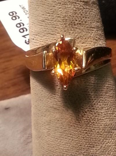 Synthetic Citrine Lady's Stone Ring 10K Yellow Gold 2.2dwt
