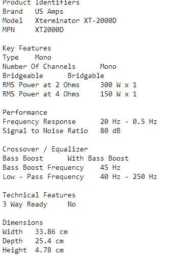 US AMPS Car Amplifier XT2000D