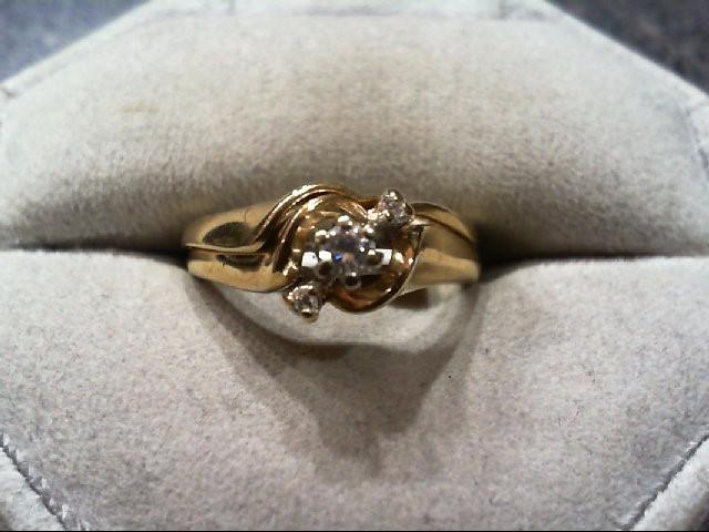 Lady's Diamond Wedding Set 3 Diamonds .12 Carat T.W. 14K Yellow Gold 4.3g