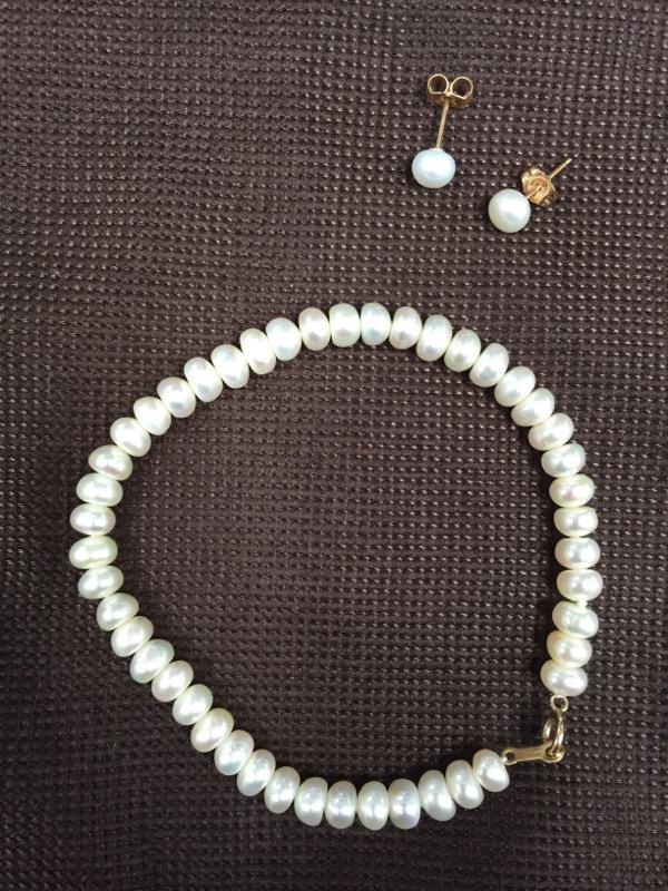 Pearl Gold-Stone Bracelet 10K Yellow Gold 8.5g