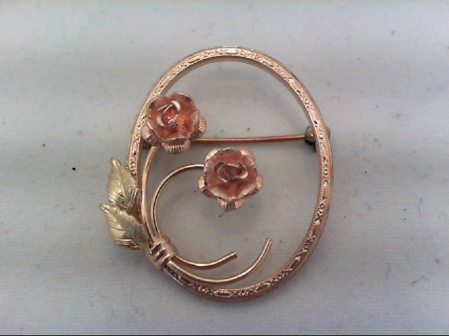 Gold Brooch 10K 2 Tone Gold 2.5g