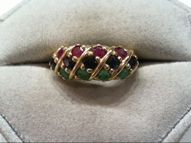 Ruby Lady's Stone Ring 14K Yellow Gold 4.5g
