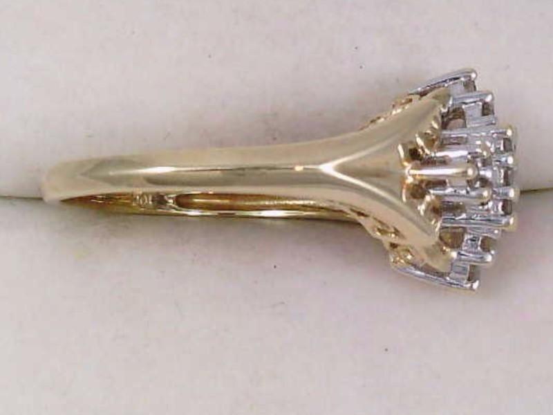 VINTAGE NATURAL DIAMOND CLUSTER RING SOLID REAL 10K GOLD ESTATE SZ 7
