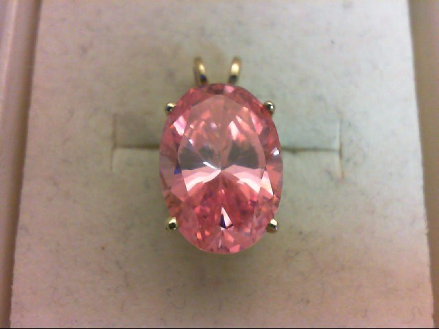 Synthetic Pink Stone Gold-Stone Pendant 14K Yellow Gold 3.4g