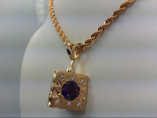 Amethyst Gold-Diamond & Stone Pendant 18 Diamonds 0.18 Carat T.W. 14K Yellow Gol