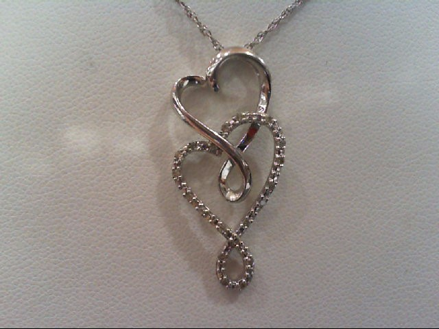 Silver-Diamond Pendant 20 Diamonds .100 Carat T.W. 925 Silver 2.8g