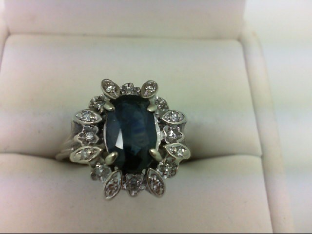 Sapphire Lady's Stone & Diamond Ring 16 Diamonds 0.16 Carat T.W. 10K White Gold