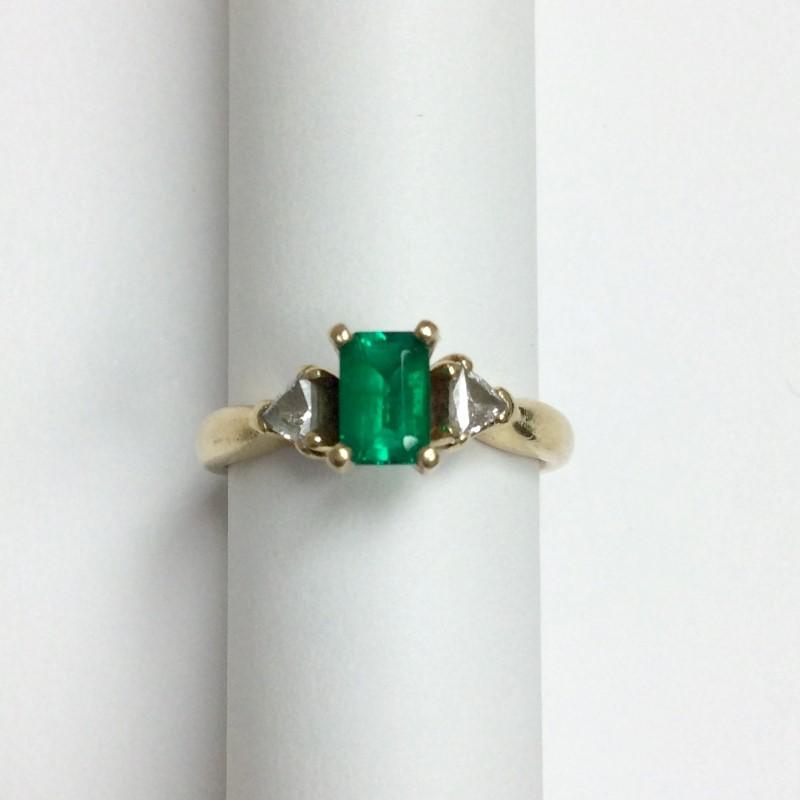 Emerald Lady's Stone & Diamond Ring 2 Diamonds .24 Carat T.W. 14K Yellow Gold