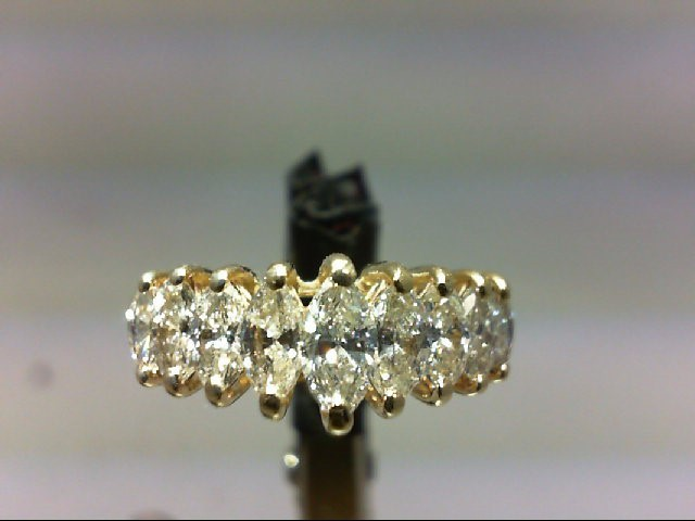 Lady's Diamond Wedding Band 9 Diamonds 1.26 Carat T.W. 14K Yellow Gold 4.28g