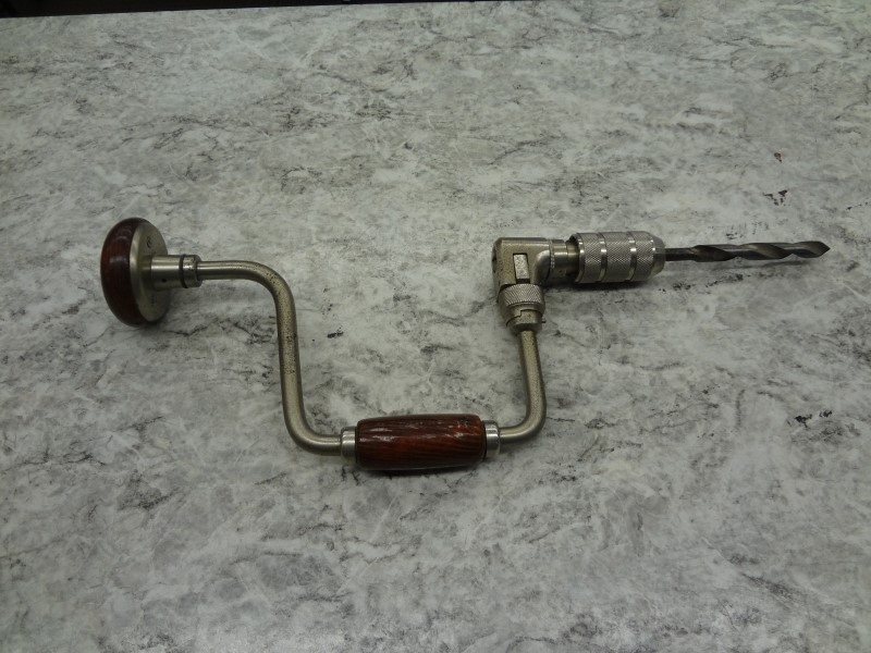 VINTAGE HAND DRILL W/WOOD HANDLE