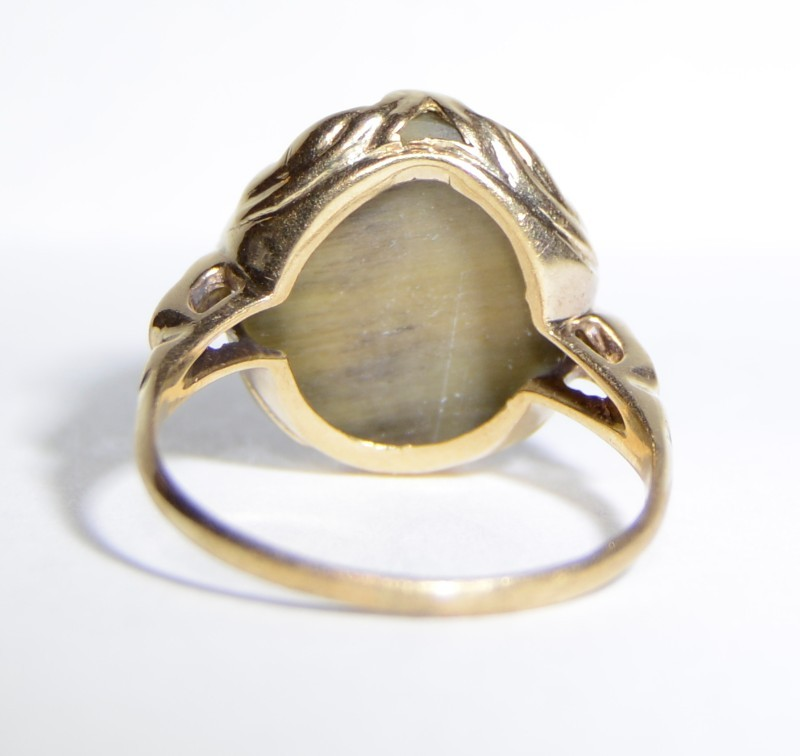 10K Yellow Gold Vintage Inspired Cats Eye Crysoberyl Etched Cocktail Ring sz 6
