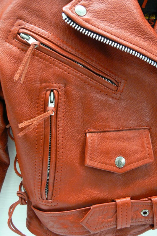 HOT LEATHER RED LADIES JACKET JKM1002