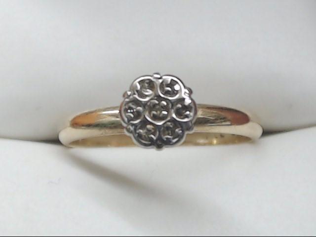 Lady's Diamond Cluster Ring 7 Diamonds 0.07 Carat T.W. 10K Yellow Gold 1.6g Size