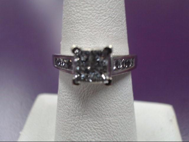 Lady's Diamond Engagement Ring 12 Diamonds 1.60 Carat T.W. 14K White Gold 4.64g