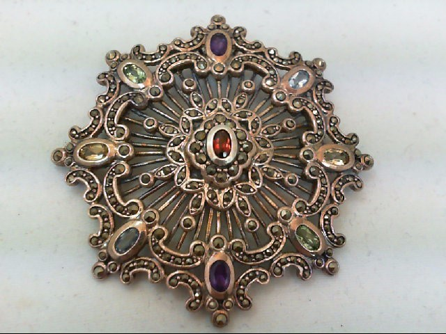 Amethyst Silver-Stone Brooch 925 Silver 20.3g