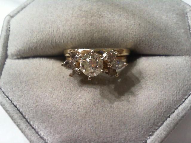 Lady's Diamond Wedding Set 7 Diamonds 1.05 Carat T.W. 14K Yellow Gold 3.94g