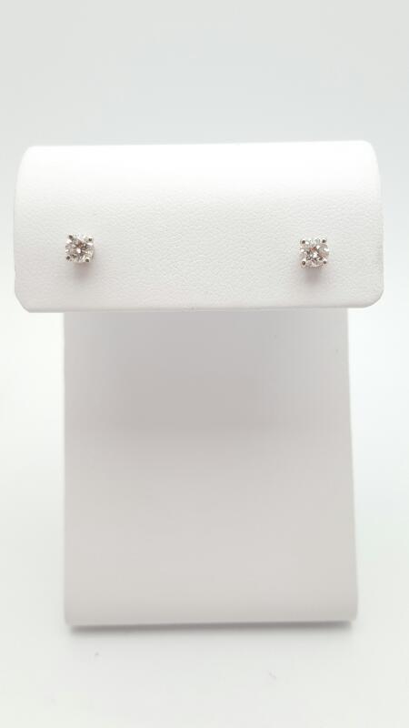 Gold-Diamond Earrings 2 Diamonds .42 Carat T.W. 14K White Gold 0.8g