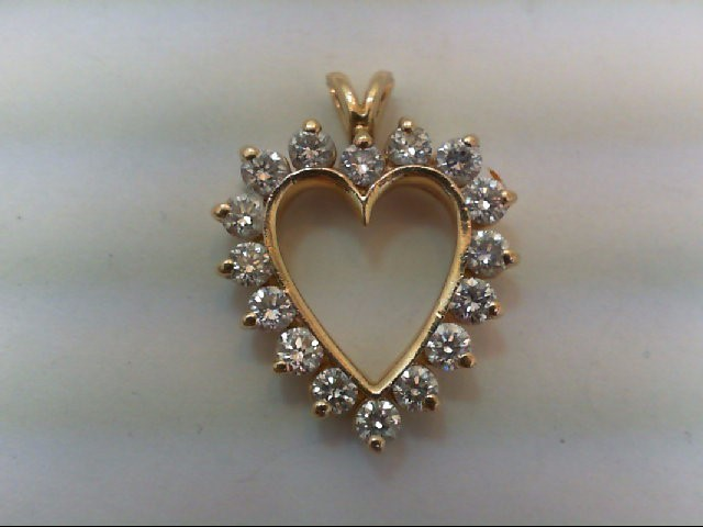 Gold-Multi-Diamond Pendant 16 Diamonds .96 Carat T.W. 14K Yellow Gold 3g