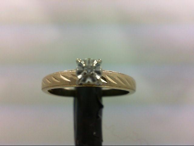 Lady's Diamond Engagement Ring 0.02 CT. 10K 2 Tone Gold 1.9g