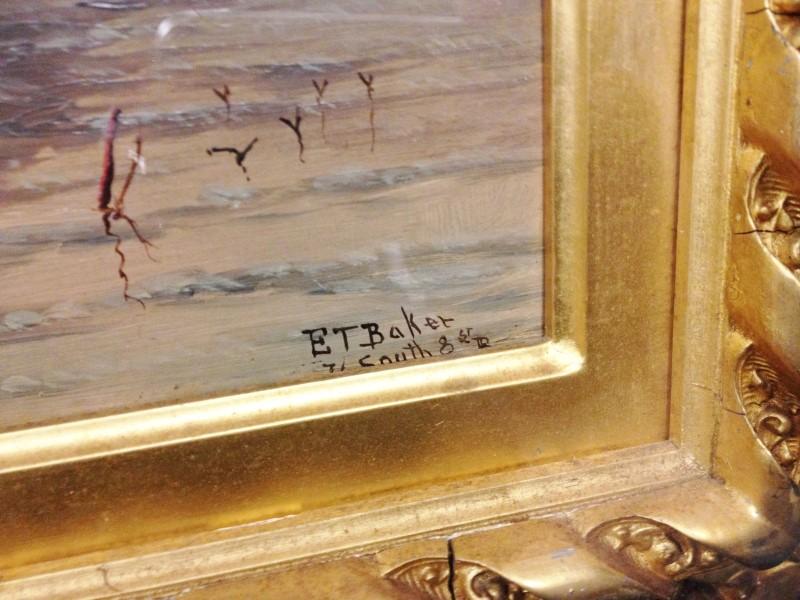 Elisha Taylor Baker Original Oil Naval Painting with Frame & Case