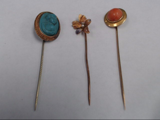 ANTIQUE HAT PINS CORRAL, CAMEO, SEED PEARL