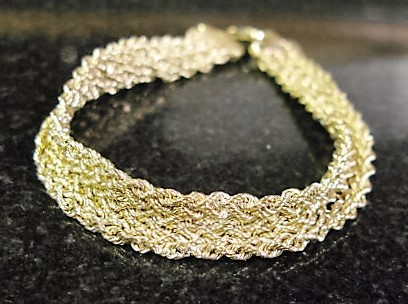 "Aurafin Fine Woven Gold Bracelet 10K Yellow Gold 4.6dwt, 7"" Long, 3/8"" Wide"