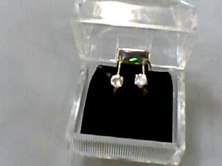 Gold-Diamond Earrings 2 Diamonds .50 Carat T.W. 14K Yellow Gold 0.7dwt