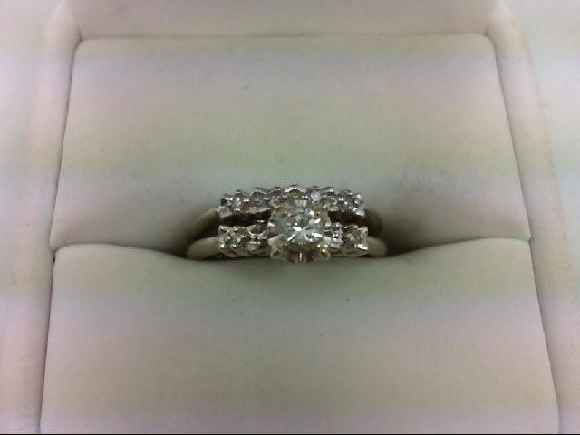 Lady's Diamond Wedding Set 7 Diamonds 0.24 Carat T.W. 18K White Gold 3.1g Size:5