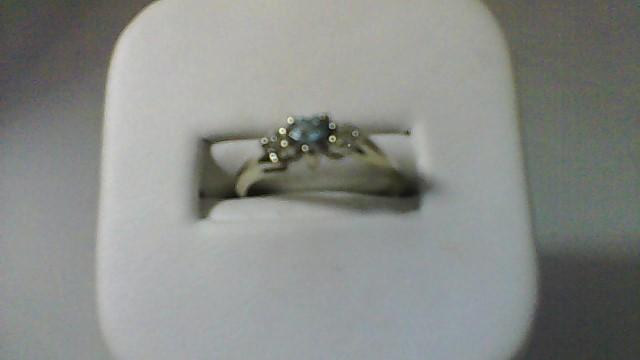 Synthetic Blue Topaz Lady's Stone & Diamond Ring 2 Diamonds .08 Carat T.W.