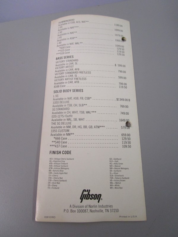 1981 GIBSON INSTRUMENTS SUGGESTED RETAIL PRICE LIST, EFFECTIVE APRIL 1, 1981