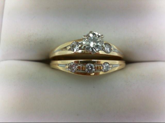Lady's Diamond Wedding Set 6 Diamonds 0.5 Carat T.W. 14K Yellow Gold 3.9g