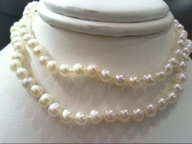 "18"" Synthetic Pearl Strand Stone Necklace 14K Yellow Gold 10.3g"