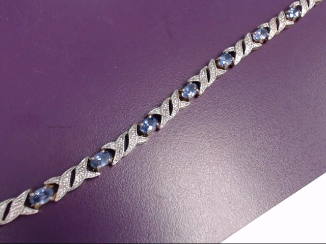 Synthetic Iolite Silver-Stone Bracelet 925 Silver 14.2g