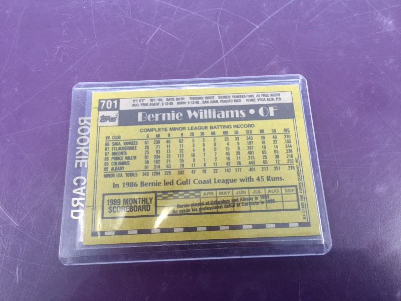 TOPPS 701 BERNIE WILLIAMS ROOKIE CARD
