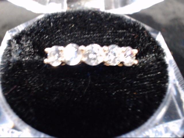 White Stone Lady's Stone Ring 10K Yellow Gold 2.1g Size:8