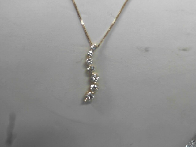 Gold-Multi-Diamond Pendant 7 Diamonds 1.35 Carat T.W. 14K Yellow Gold 1.6g