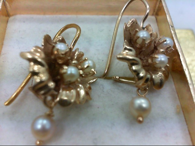 Pearl Gold-Stone Earrings 14K Yellow Gold 6.5g