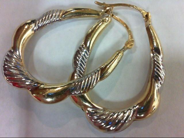 Gold Earrings 14K 2 Tone Gold 1g