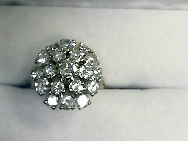 Lady's Diamond Fashion Ring 19 Diamonds 3.90 Carat T.W. 14K White Gold 5.4dwt
