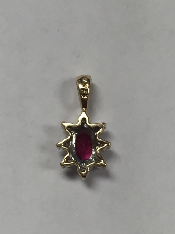 Ruby Gold-Diamond & Stone Pendant 8 Diamonds .08 Carat T.W. 10K Yellow Gold