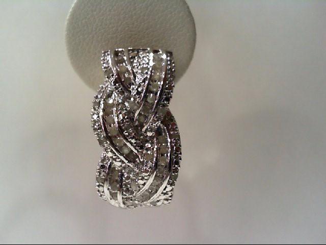 Silver-Diamond Earrings 78 Diamonds .78 Carat T.W. 925 Silver 12.3g