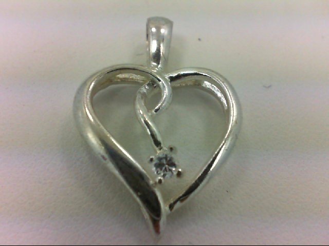 Synthetic Cubic Zirconia Silver-Stone Pendant 925 Silver 1.7g