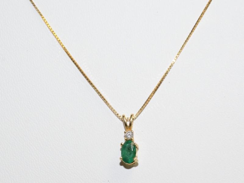 Synthetic Emerald Gold-Diamond & Stone Pendant .05 CT. 14K Yellow Gold 0.6g
