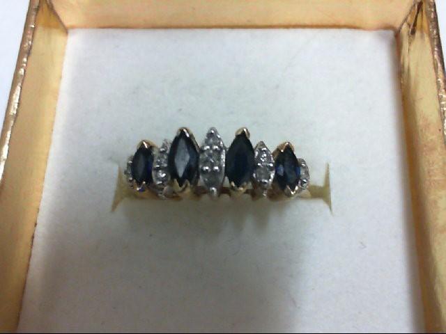 Sapphire Lady's Stone & Diamond Ring 9 Diamonds 0.1 Carat T.W. 14K Yellow Gold 2