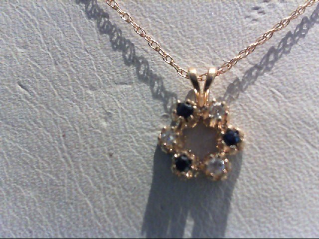 Sapphire Gold-Diamond & Stone Pendant 3 Diamonds 0.03 Carat T.W. 14K Yellow Gold