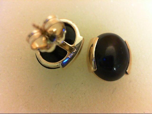 Onyx Gold-Stone Earrings 14K Yellow Gold 1.9g