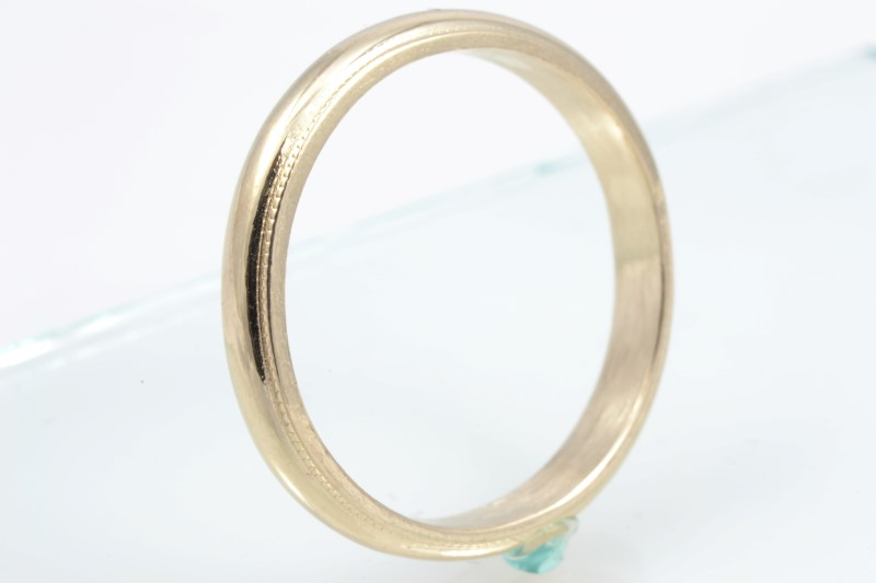 ESTATE WEDDING RING BAND SOLID 14K GOLD BEAD EDGE 2.8 MM SIZE 5.5