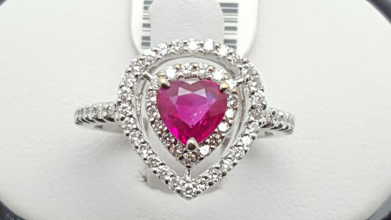 Lady's ruby & Diamond Ring 58 Diamonds .52 Carat T.W. 18K White Gold 4.5g