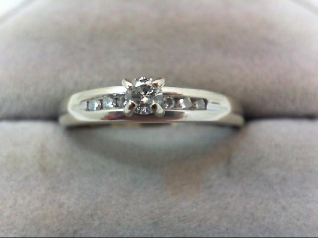 Lady's Diamond Engagement Ring 7 Diamonds .24 Carat T.W. 10K White Gold 3.3g