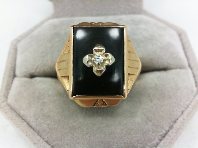 Gent's Diamond Solitaire Ring 0.03 CT. 10K Yellow Gold 8.5g Size:10